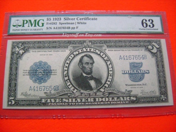 1923 US 5 Five Dollar Bill Porthole FR282 Speelman White