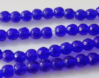 "WHOLESALE - Cobalt Blue 4mm Faceted Round Glass Beads (Three 11"" Strands)"