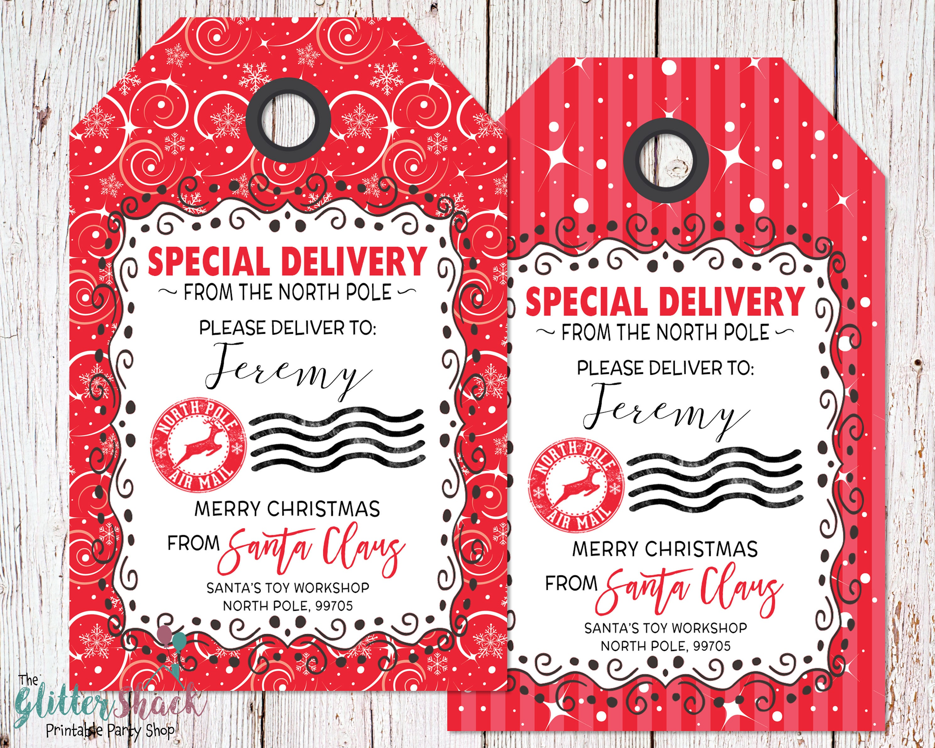 Personalized from santa gift tags personalized north pole description from santa printable christmas gift tags negle Images