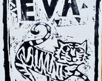 Personalised name lino cut tiger