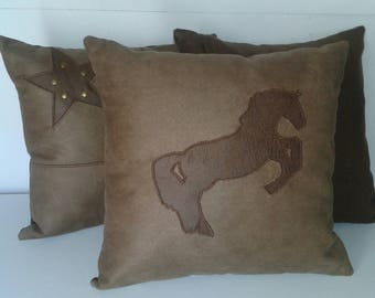 pillows with faux leather and horse 40 x 40