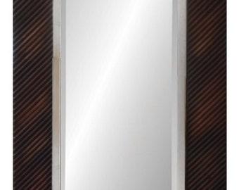 Modern Espresso Reclaimed Wood Mirror outside dimension 24x48