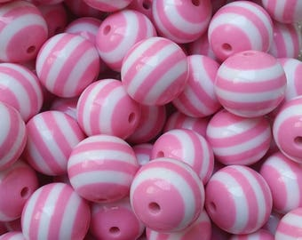 BULK 50 pcs Light Pink and White Stripe 20 mm Chunky Bubblegum Beads