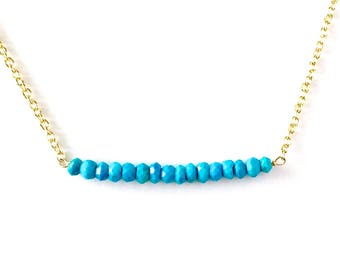 Genuine Blue Turquoise Bar Necklace. Small Faceted Blue Turquoise Necklace on Delicate Gold Filled Chain. Girl Gift Under 50