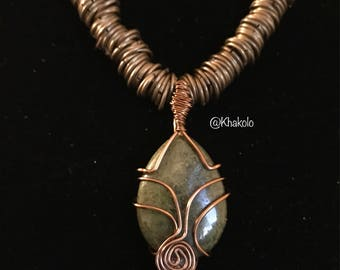 Copper Jasper Clear crystal point wire wrapped pendant