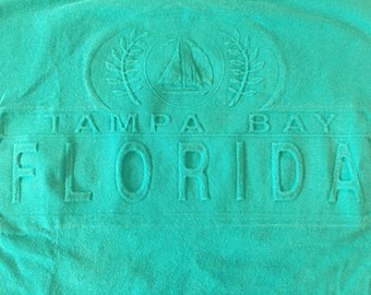 Vtg Tampa Bay Florida Embossed Teal T Shirt