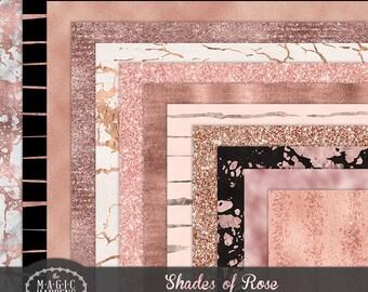 Rose Gold Digital Paper, RoseGold Foil, Blush, Pink Glitter Marble Digital paper, Rose Gold Planner, Rose Gold  Texture Background Scrapbook