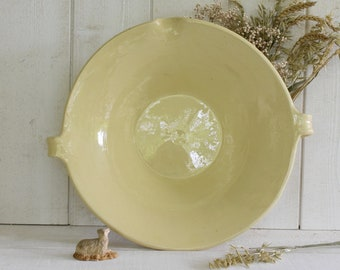 Oops! SOLD to K...! Vintage French Gresale tian Pottery confit pot  in rare pale yellow color - Medium size. PERFECT CONDITION!