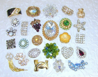 26 Single Earrings Lot Backs Removed Crystal Cluster Rhinestone Glass Blue Green Aqua Amber Purple Earring Craft Jewelry Hair Mosaic Crafts