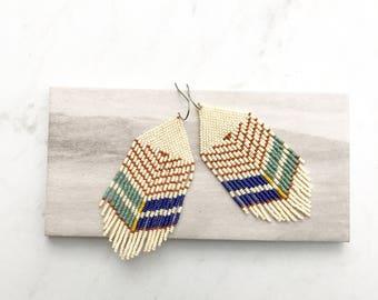 T H E . C A R O L I N E // Beaded Fringe Earrings, Boho Earrings, Statement Earrings