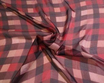 Red Brown and Black Plaid Check Print Pure Silk Chiffon Fabric--One Yard
