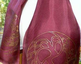 Silk Scarf Handpainted. Brown Sienna, Gold Hand Dyed Silk Scarf. Handmade Silk Scarf TREE OF LIFE. Rectangular 8x54. Birthday Gift