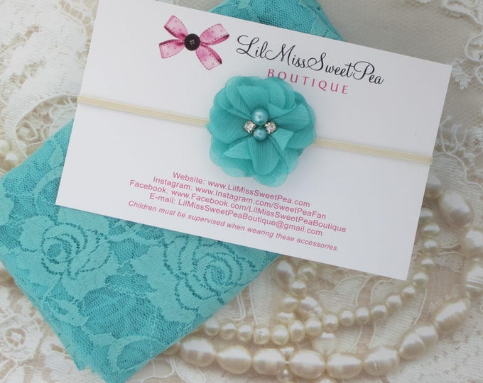 "Aqua stretch lace swaddle wrap (16 x 58"") AND/OR matching flower headband for newborn photo shoots, stretch lace by Lil Miss Sweet Pea"