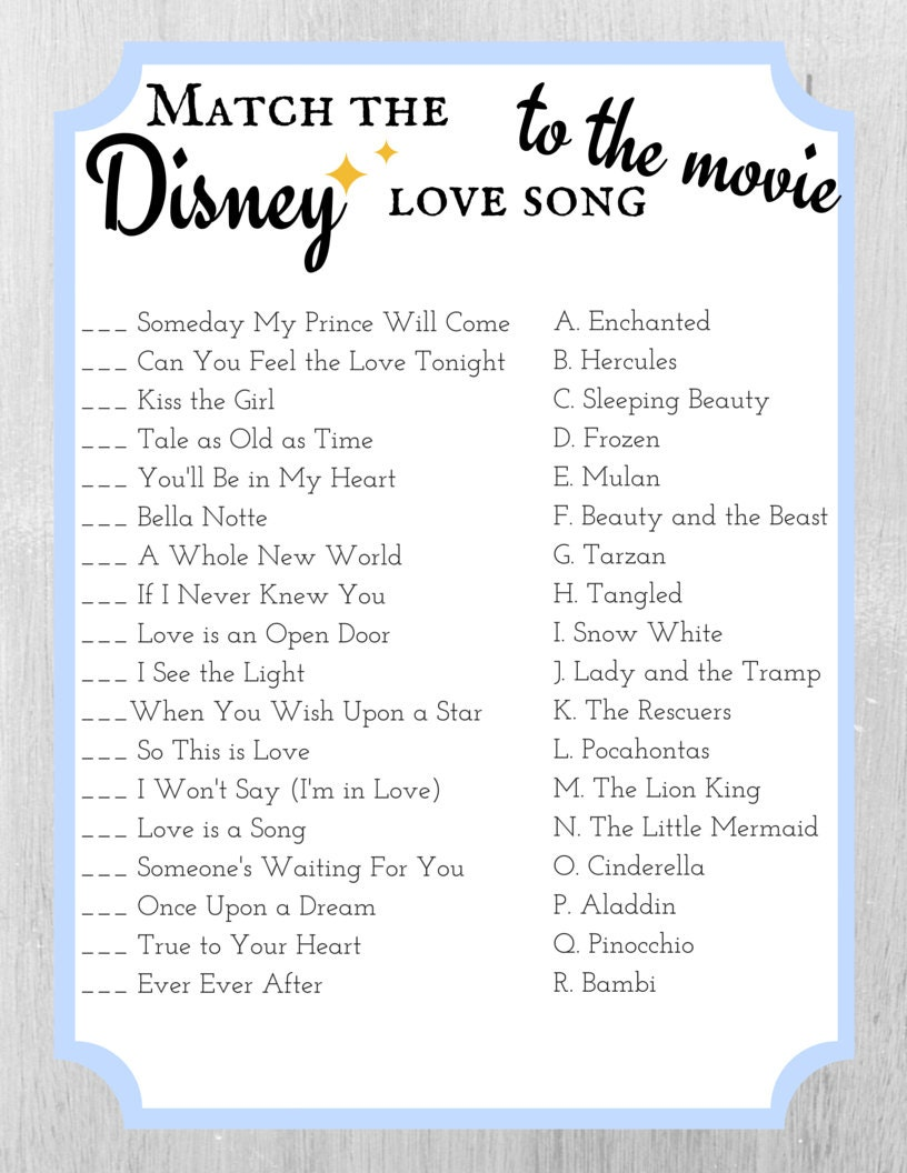 Match The Disney Love Song To The Movie Bridal Shower Game - Bridal shower game templates