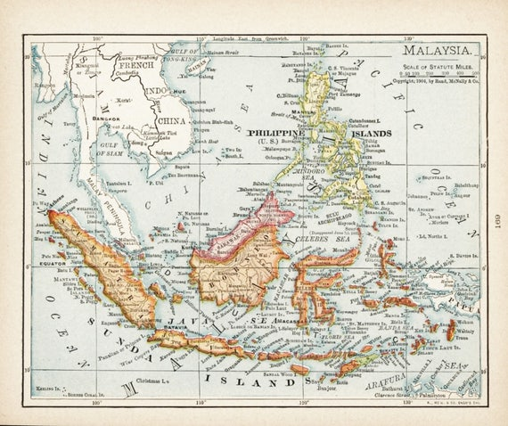 Small map of malaysia philippines map borneo map antique small map of malaysia philippines map borneo map antique wall decor print old atlas wall art color map vintage 1900s map no 169 3 publicscrutiny Images