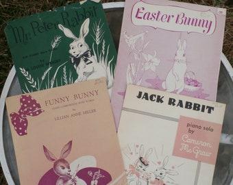 Vintage 1950s 1960s Rabbit Piano Sheet Music Lot of 4, Jack Rabbit, Easter Bunny, Mr Peter Rabbit, Funny Bunny