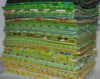 Designer Fabric Scrap Bag Green, 2 yards total