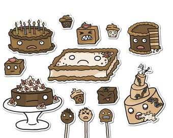 Cake Stickers, Paper Stickers, Journaling, Sticker Flakes, Stationery, Scrapbooking, Cute Food, Funny Food, Food Stickers, Dessert Stickers