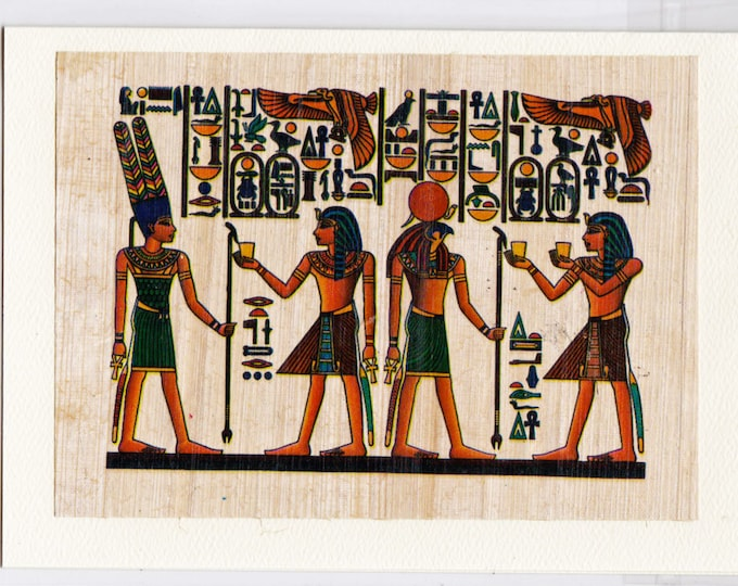NEW! Egyptian Scene with Horus and Ramses the Great. Beautiful design, perfect gift for men, women. Genuine Egyptian papyrus.