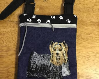 Embroidered Yorkshire Terrier  mini cross body bag or cell phone zippered bag