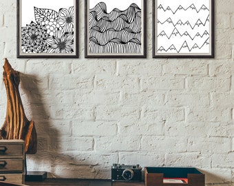 Wall Print Set- Ralph Waldo Emerson Nature Quote Black and White