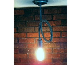 Flex conduit Industrial pendant light, exposed conduit bare bulb rustic pendant, very Raw, Rustic, Modern & Contemporary.