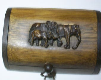 Unusual Carved Wooden Box Featuring  a Family of Elephants on the Lid