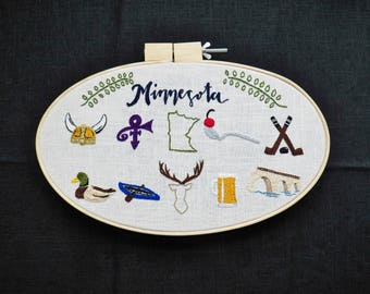 Minnesota Embroidery Hoop Art