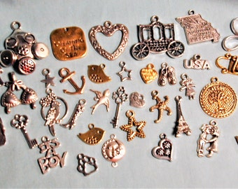 51pc Mixed Lot Silver Bronze & Copper Charms C263