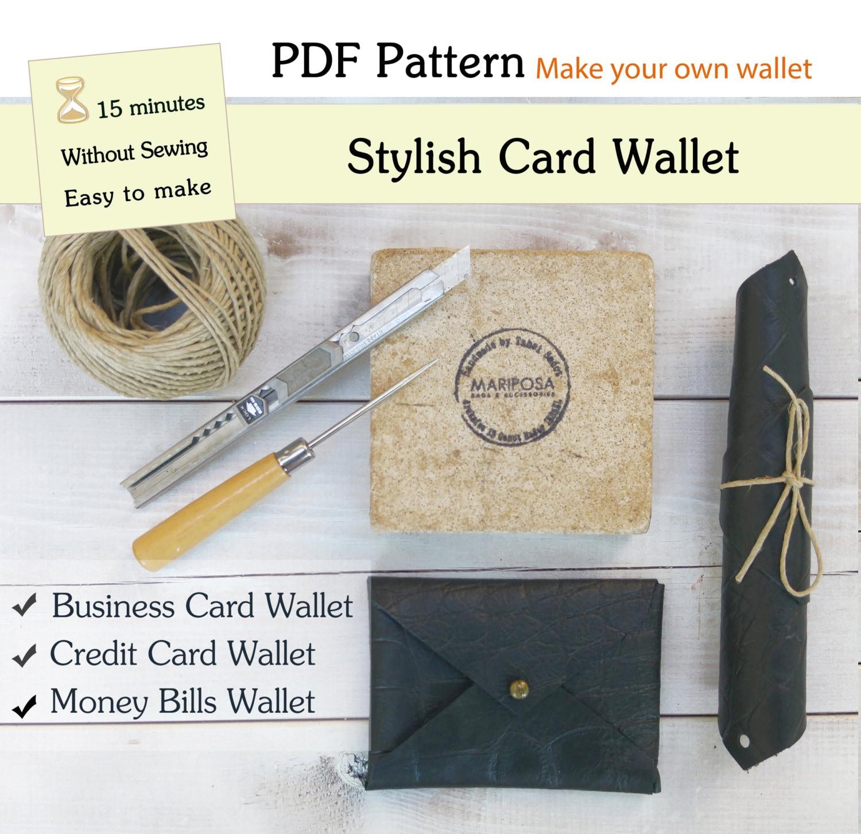 PDF Digital Wallet Template , Women/ Men Leather Wallet, Business ...