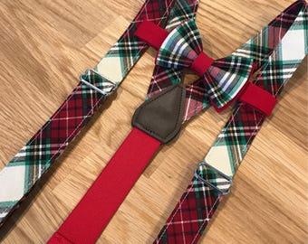 Red, White and Green Plaid Suspenders and Bow Tie Set madenof 100% cotton with Optional Newsboy Cap for infants, toddlers and young children