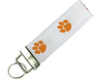 Personalized Key Chain / Key Fob Clemson Tigers With Optional Initials