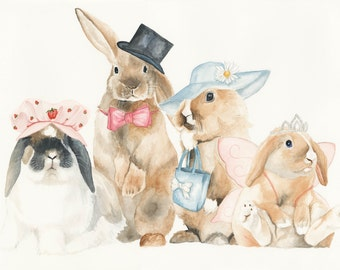Watercolour A3 Print, Bunnies, Rabbits, Animal Portrait, limited edition
