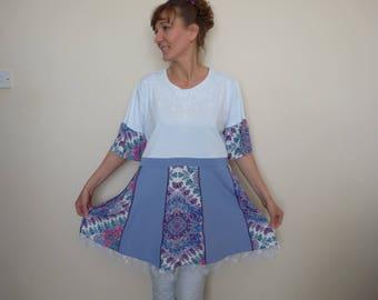 Plus size clothing Upcycled womens Plus size tops Plus size tunic Recycled clothing Plus size hippie top Plus size boho tunic Bohemian tunic