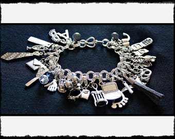 Grey Charm Bracelet with Flogger / Whip Charm // Fifty Shades of Grey Inspired // BDSM Gift // Cincuenta Sombras
