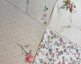 Pack of (4) - Pink/Cream Floral Vintage Wallpaper Pack, 11x14 size