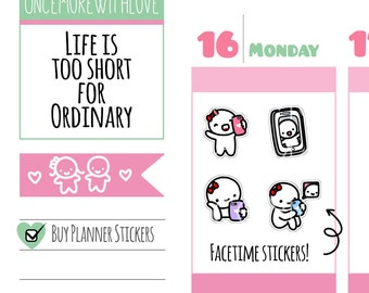 Munchkins - FaceTime or Skype Planner Stickers (M248)