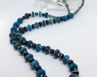 Shades of blue Apatite and jet with opal inlay necklace