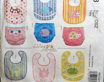 2010 McCall's Pattern M6108 UNCUT Infant Bibs and Diaper Covers with contrasting applique patterns..newborn to large size