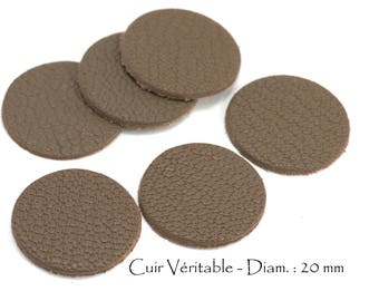 6 round genuine leather - Diam. 20 mm - goat leather - Taupe color set