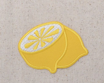 Yellow Half Lemon - Fruit - Iron on Applique - Embroidered Patch - WA343