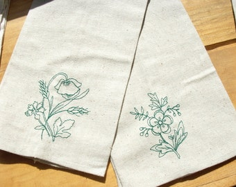 Floral  Machine Embroidered Hand Towels