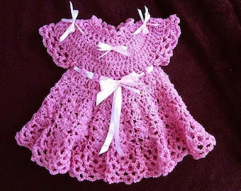 CROCHET Baby Dress PATTERN, Girl's Dress, Patterns for kids, babies, newborn to age 6, number 538