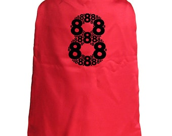 Birthday Cape - 8th Birthday Superhero 8 year old Cape - Kids Cape - Reversible Red / Blue - Super hero - great birthday gift or present