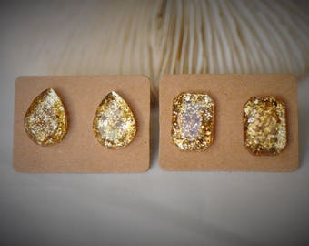 RESIN Gem Earring, TEARDROP / RECTANGLE Earring, Gold Sequin Stainless Steel Stud Earring ~ 11 mm