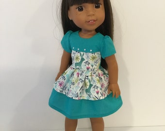 "14.5"" Doll Clothes - Turquoise and Bunny Print Dress - To fit Wellie Wishers"