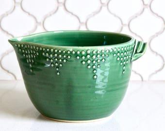 Bol en pâte, 8 tasses - vert émeraude - bol à mélanger à la main - décoration moderne - prêt à l'expédition
