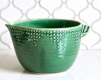 Batter Bowl, 8 Cup - Emerald Green - Handmade Mixing Bowl - Modern Home Decor - READY TO SHIP