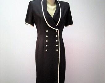 Vintage Black & White Coat Dress / 80s Double Breasted Tuxedo Shawl Collar Dress