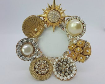 Jeweled Picture Frame - Golden Circles